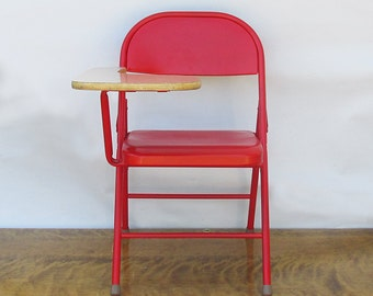 "Mid Century Folding Desk Chair - Student Desk ""Revived in Red"""