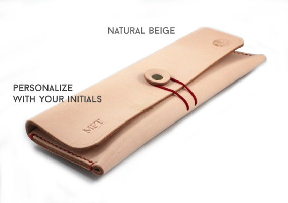 Hand-stitched leather pencil case/ multi-pouch
