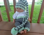 Long Tail Elf Hat/Matching Pants for 0-3 Month Baby or Reborn Doll in Grey and Mint  Green