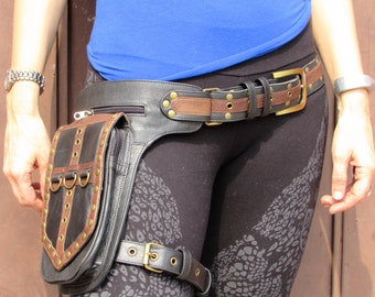Leather Leg Holster Utility Belt  Steampunk  Festival Hip Belt Bag with Pockets in Black with Chocolate Brown Edge HB31e
