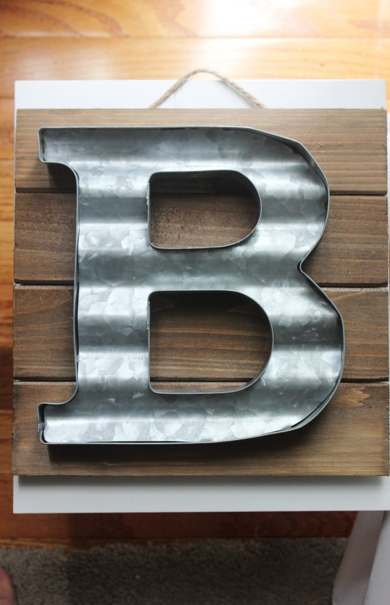 LARGE METAL LETTER Corrugated Zinc Steel Initial Home Room Decor Diy ...