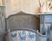 Antique French Bed . Headboard and Footboard . Otomi Upholstered . Caned . Hand Painted with Chalk Paint by Annie Sloan . Vintage Upcycled .