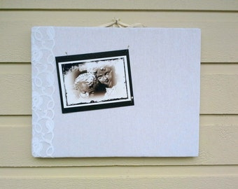 White Linen Pin Board, accented with lace, custom colors and sizes available, wedding display, great for black and white photo display