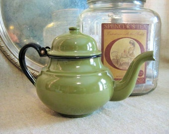 Vintage Avocado Green Enamelware Tea Kettle  / Shabby Retro Green and Black Teapot / Little Green Tea Kettle / Watering Can