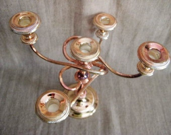 Pretty Paris Chic 5 Arm Candelabra / Shabby Twisted Arm Candelabra / Rose Gold Colored Vintage 5 Arm Candelabra