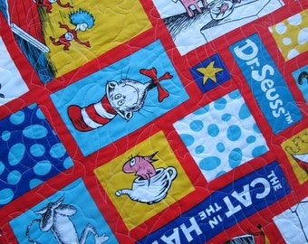Dr Seuss Twin Bed Quilt, Seuss Twin Bedding,  The Cat in the Hat Toddler Bedding, MADE TO ORDER
