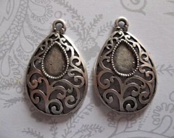 Open Scrollwork Filigree Pendants or Earring Findings - Teardrop Shape - Artisan Handmade - Oxidized Silver Plated Pewter - Qty 2