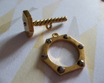 Gold Nut & Bolt Toggle Clasp Set with Gunmetal Rhinestones - Qty 2 Sets