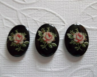 Vintage Decal Picture Stones - Pink Rose on Black Cameo -  18X13mm Glass Cabochons - Qty 6