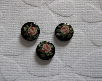 Vintage Decal Picture Stones - Pink Rose on Black Cameo -  8mm Round Glass Cabochons - Qty 6
