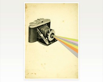 Camera Art Print, Gift for Photographer, Wall Art for Men - It's a Colourful World