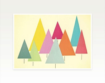 Mid Century Abstract Tree Art, Nordic Inspired Geometric Print - Fir Trees