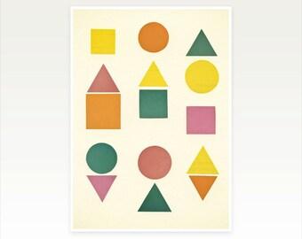 Abstract Geometric Print, Minimalist Wall Art - Shape Sorter