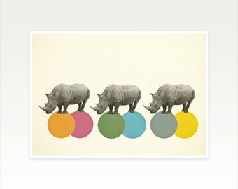 Zoo Animal Nursery, Kids Wall Art, Collage Art Print, Rhinoceros Art - Rambling Rhinos