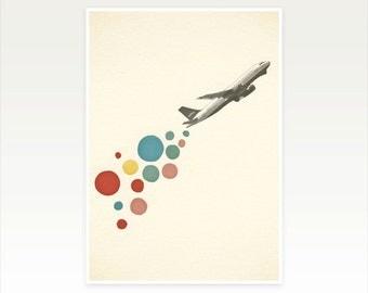Airplane Art, Retro Wall Art, Pop Art Poster - Leaving on a Jet Plane
