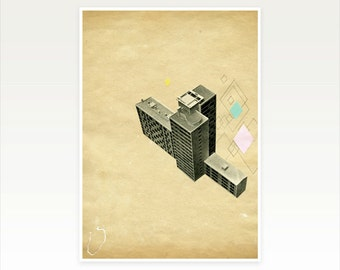 Mid Century Architecture Print, Geometric Collage Art - The Modern World