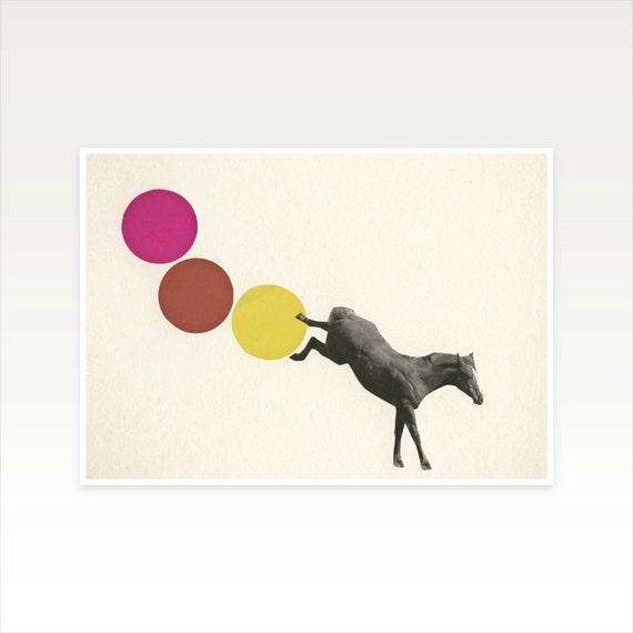 Horse Art, Nursery Art, Animal Art Print, Paper Collage, Kids Decor, Gift for Man - Buck