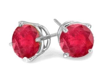 stud earrings sterling silver genuine ruby