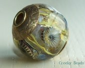 "Handmade Lampwork Bead - Brass caps and core - ""UnderWorld!"" Creeky Beads SRA"
