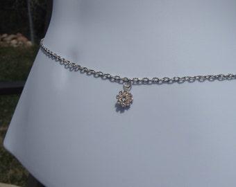 Swarvoski Crystal Flower Silver Belly chain