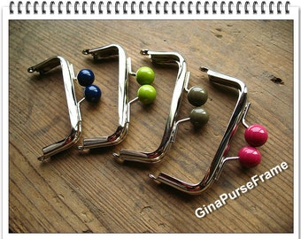 4pieces-8.5cm(3.5 inch) candy bead metal bag purse frame (silver color)