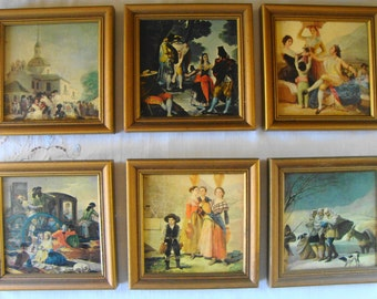 6 Vintage Framed Pictures Assorted Historic Scenes Back Stamped San Juan Puerto Rico Wall Art Pictures Collection Ancient City Souvenir