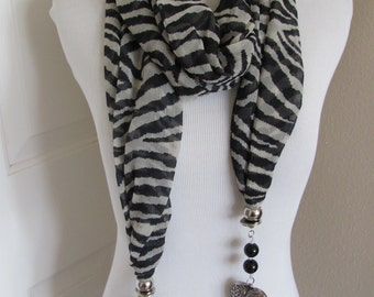 "Beautiful Black White Zebra Soft Poly Scarf with Metal Hearts  15"" x 70"" Long"