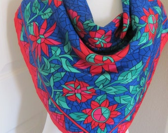 """SALE!! Lovely Red Blue Soft Poly Scarf - 32"""" Inch 81cm Square - Best of the Best"""
