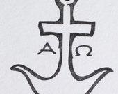 Letterpress - Anchor - Alpha & Omega - Early Christian Symbol