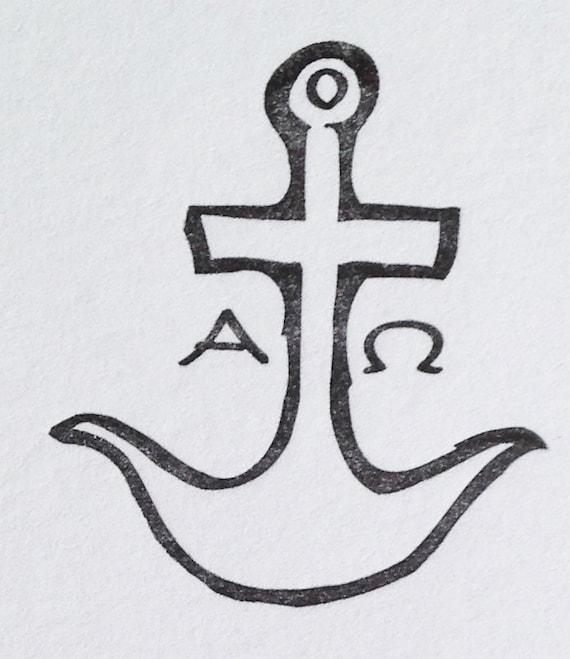 Letterpress Anchor Alpha & Omega Early Christian Symbol