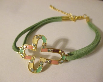 Mutli-Colored Cross Bracelet with Green Suede Band