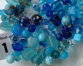 Blue Glass Beads Loose Fancy Glass Bead Mix Assorted