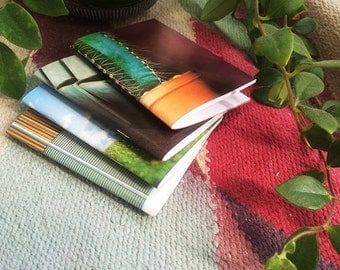 Mini Notebooks Upcycled Set of 4  - ONE SET ONLY - Repurposed Recycled Colorful Indie Handmade Ooak