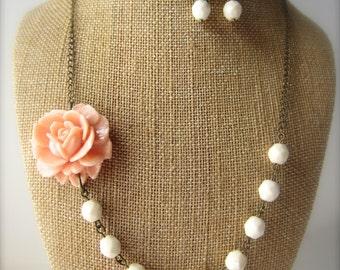 Peach Wedding Jewelry Beaded Flower Necklace Bridesmaid Necklace Set Rustic Wedding Peach Bridal Jewelry Pale Peach Bridesmaid Jewelry
