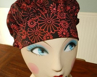 Red Batik Daisey on Black Banded Bouffant Surgical Cap