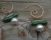 Green and white stacked pearl on hammered copper spiral earrings