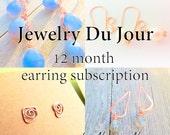 12 month earring subscription, Nature Nouveau copper dangle earrings