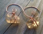 Pale Yellow Oregon Sunstone Copper Swirl Dangle Earrings