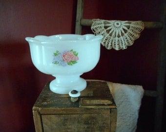 Vintage Avon Roses & Lavender Lilacs White Milk glass candy dish sweet rose garden
