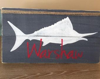 Marlin fish name wooden sign