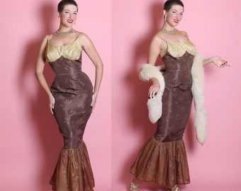 RARE 1950's Custom Chocolate Brown Satin Extreme Hourglass Mermaid Hem Burlesque Gown w/ Gold Lurex Shelf Bust & Gold Butterfly Motif - M