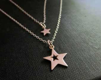 Mother daughter star necklace, star cutout charm, gift for mother and daughter, best friends, lucky star necklace