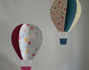 3D Hanging Hot Air Balloon Colorful CUSTOMIZE colors Nursery Ceiling hanging