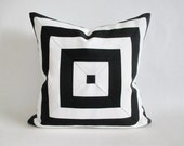 Mitered Pillow Cover Black White Stripes Indoor Outdoor