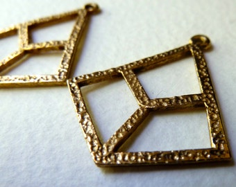 Vintage Geometric Brass Earring Components - Deco Style Drops -  32x28mm - Qty 2 pcs, one pair (vb4)