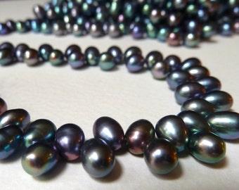 Dancing Peacock Pearls  -  Top Drilled Teardrop Freshwater Pearls  -  6-6.5mm -  Dark Gray, Violet, Blue - Fine Quality (bp21)