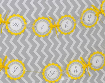 Baby Shower Banner - Gray and Yellow - Boy or Girl Baby Shower Decorations - Gender Neutral Shower
