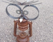 Owl Lantern Can Opener Yard Art Recycled Garden Sculpture Bird