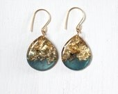 teal and gold glitter drop earrings on gold filled earwires, large size, glitter earrings, gold leaf earrings, green earrings, gold teardrop