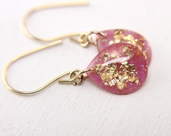 pink earrings with gold leaf and gold glitter, gold glitter earrings, teardrop earrings, pink teardrops, gold leaf earrings